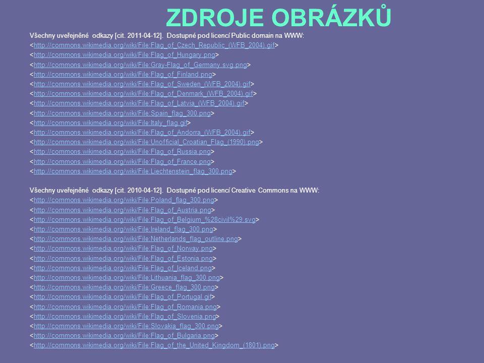 ZDROJE OBRÁZKŮ Všechny uveřejněné odkazy [cit. 2011-04-12]. Dostupné pod licencí Public domain na WWW: